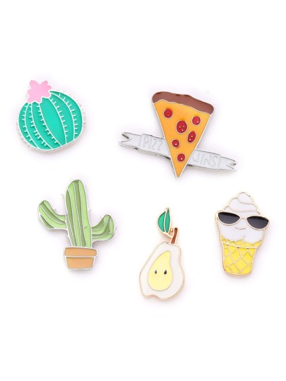 Cactus And Ice Cream Design Brooch Set
