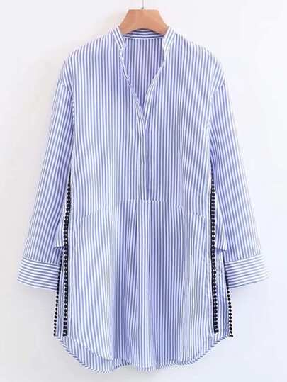 Vertical Striped Dotted Crochet Split Side Shirt Dress