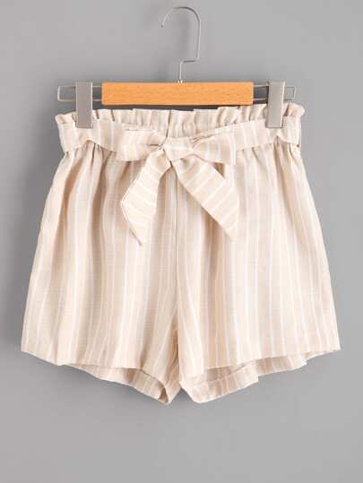 Vertical Stripe Self Tie Front Shorts