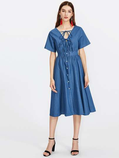 Self Tie Front Chambray Shirt Dress