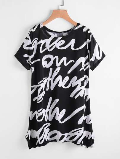 Random Print Pointed Hem Tee Dress