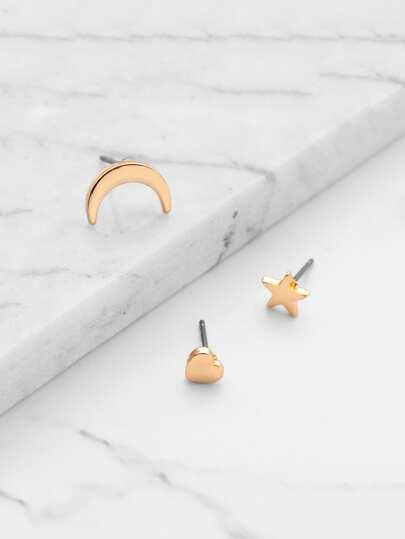 Conjunto de aretes en forma de luna y estrella y corazón