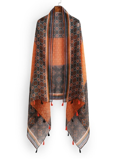 Retro Print Color Block Scarf With Fringe