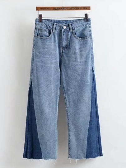 Color Block Frayed Hem Wide Leg Jeans