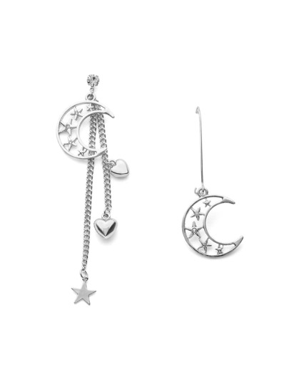 Hollow Moon & Star Design Mismatch Earrings