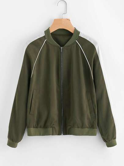Contrast Panel Tipping Detail Raglan Sleeve Bomber Jacket