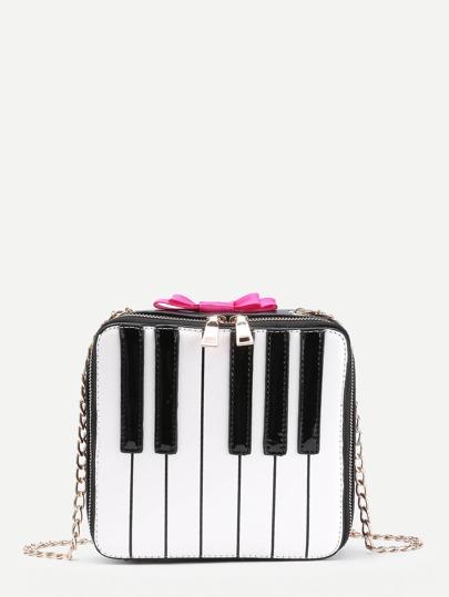 Sac bandoulière en PU design de touche de piano avec nœud papillon