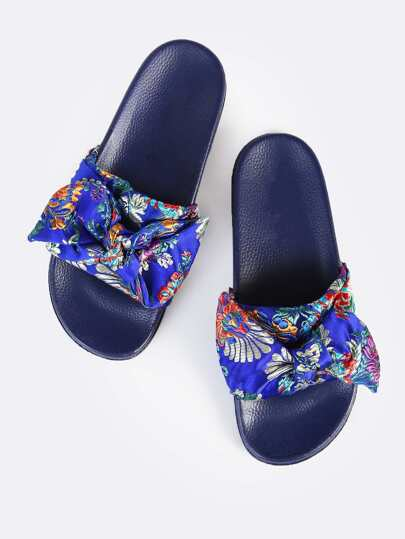 Stitched Oriental Bow Slides BLUE
