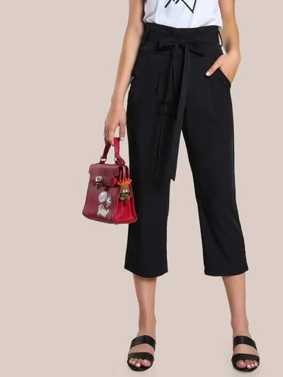 High Rise Capri Dress Pants BLACK