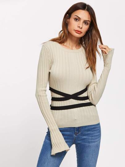 Contrast Cross Wrap Belt Detail Slit Sleeve Jumper