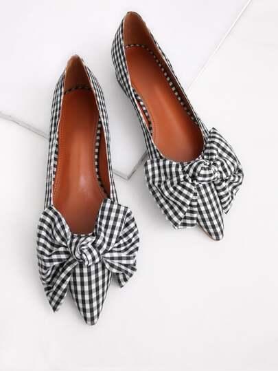 Модные клетчатые туфли с бантом