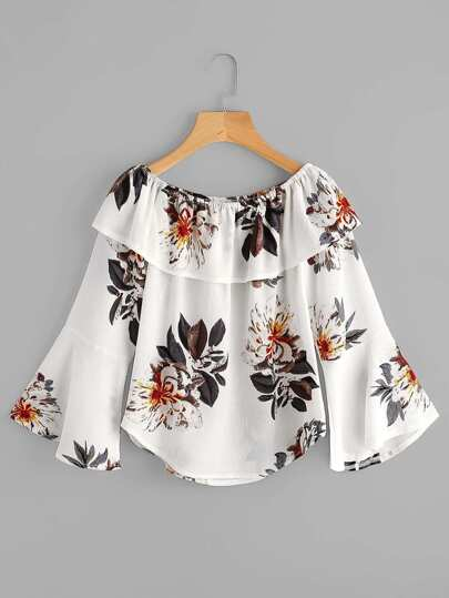 Flounce Layered Neckline Fluted Sleeve Florals Top
