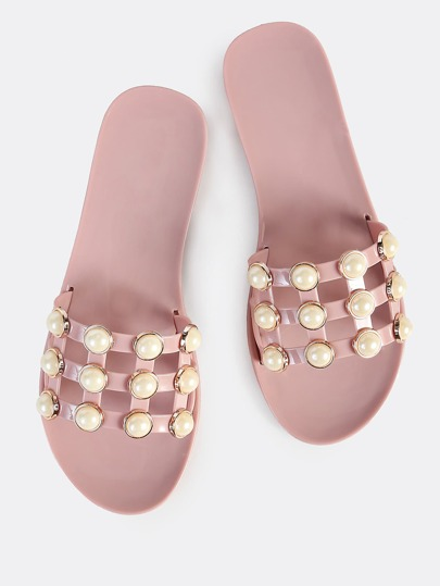 Studded Pearl Jelly Slip On Sandals MAUVE