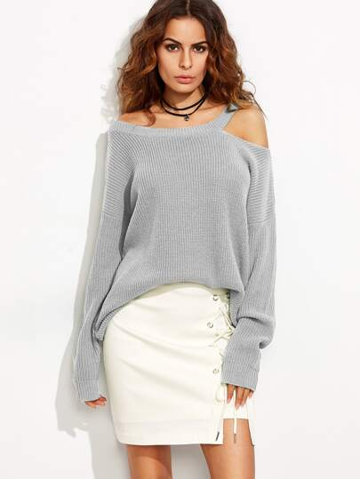 Cutout Shoulder Longline Loose Fit Jumper