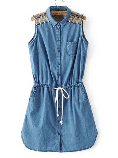 Embroidery Drawstring Denim Dress