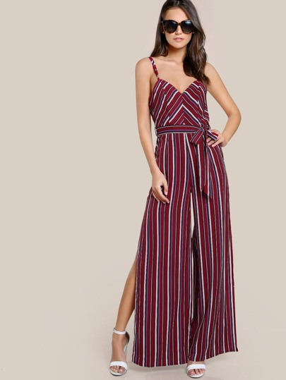 Double Strap V Back Split Palazzo Jumpsuit