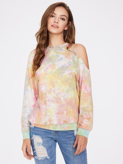 Asymmetric Cutout Shoulder Tie Dye Sweatshirt