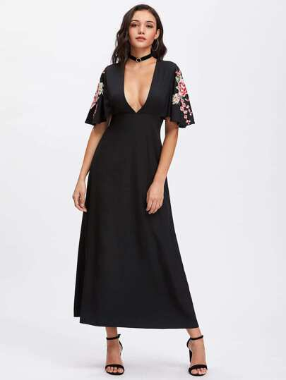 Embroidered Flower Patch Flutter Sleeve Plunging Dress