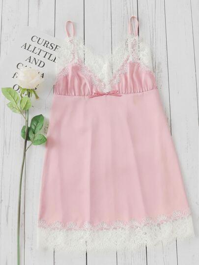 Contrast Lace Trim Triangle Sleep Dress