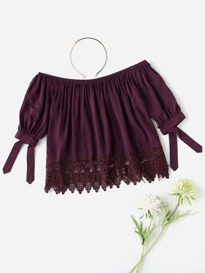 Off Shoulder Knot Sleeve Lace Hem Top