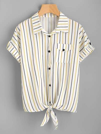 Vertical Striped Knotted Front Cuffed Shirt With Chest Pocket
