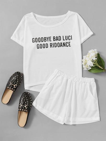 T-Shirt mit Buchstaben und Shorts Pajama Set