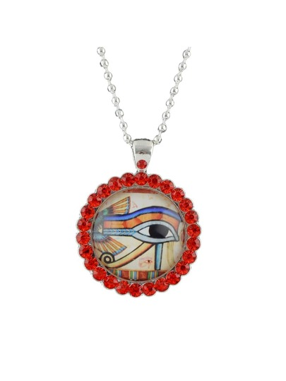 Ethnic Style Red Color Rhinestone Eye Shape Pendant Necklace