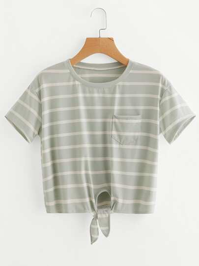 Single Pocket Knot Front Striped Tee