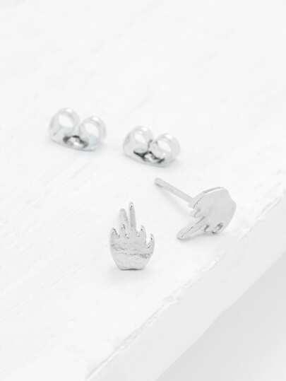 Metal Gesture Design Stud Earrings