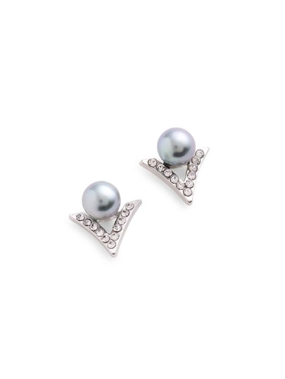 Faux Pearl Detail Geometric Stud Ear Jacket