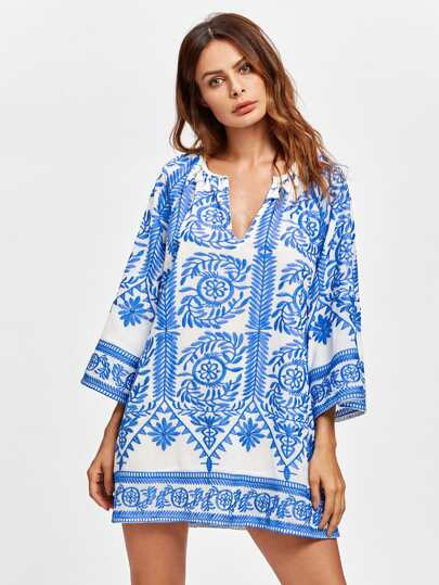 All Over Embroidered Tassel Trim Dress