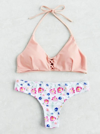 Calico Print Criss Cross Bikini Set