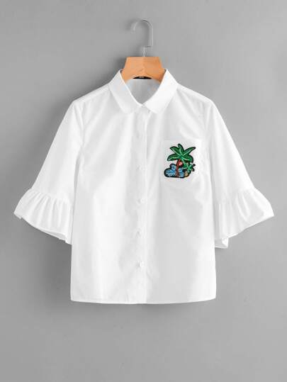Embroidery Applique Pocket Front Trumpet Sleeve Blouse