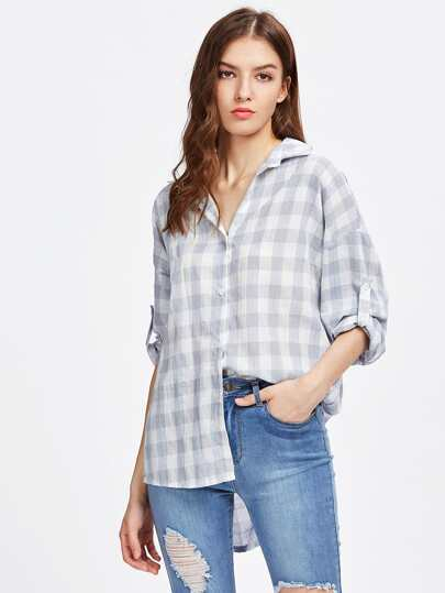 Gingham Drop Shoulder Rolled Tap Sleeve Shirt