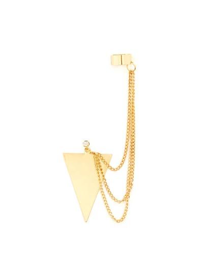 Arete en forma de triángulo metálico con cadena 1pcs