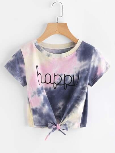 Camiseta de color acuarela con letras con nudo