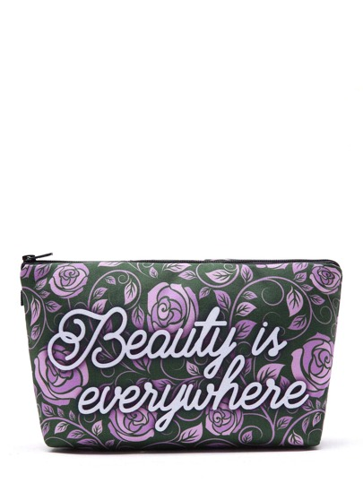 Rose & Slogan Print Makeup Bag