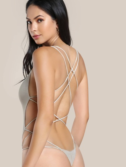 Strappy Open Back Bodysuit TAUPE