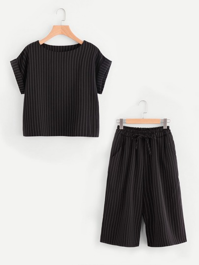 Pinstriped Rolled Cuff Top With Self Tie Pants