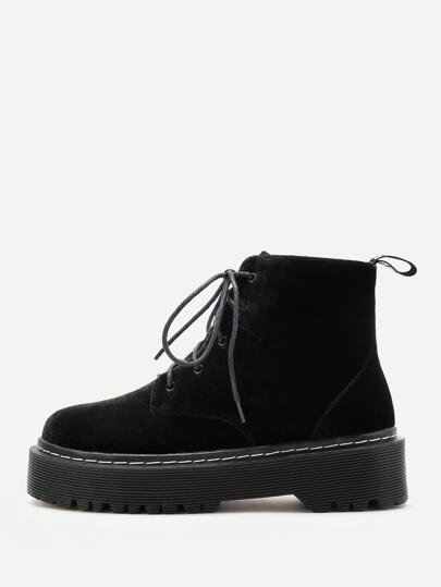 Velvet Lace Up Rubber Sole Ankle Boots