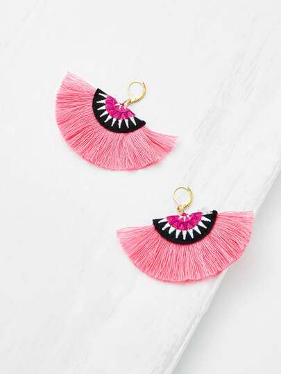 Embroidery Detail Fan Shaped Drop Earrings