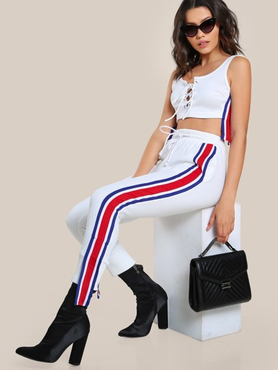 Lace Up Striped Crop Top & Matching Pant Set WHITE