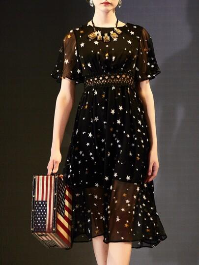 Stars Print Contrast Crochet Hollow Out Dress