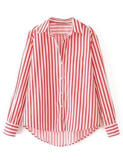 Vertical Striped High Low Blouse