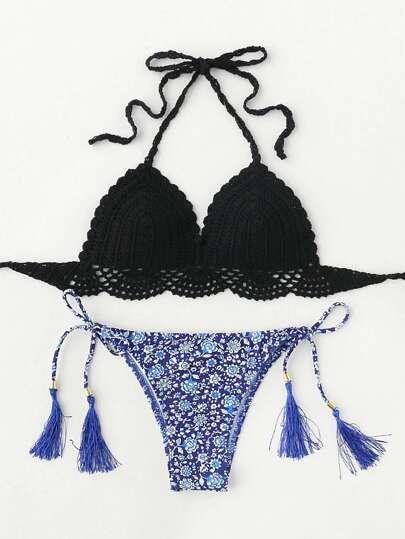 Conjunto de bikini tejido con estampado de calicó con cordón con borla
