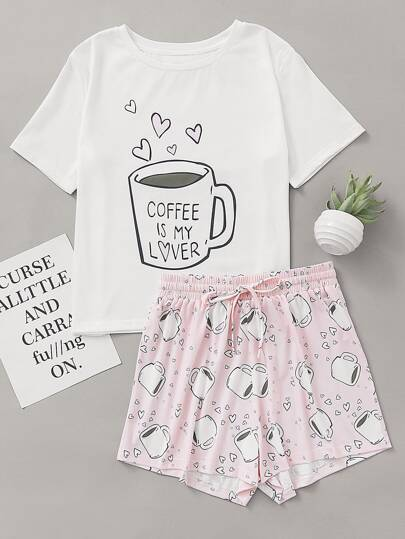 Cups Print Top With Drawstring Waist Shorts Pajama Set