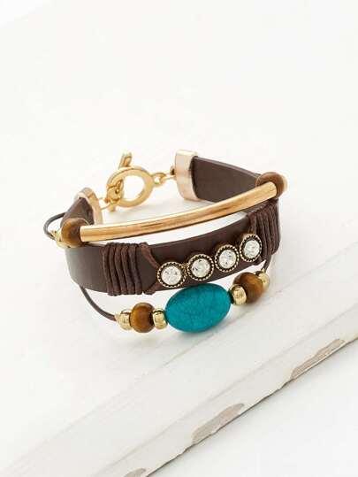 Bar & Rhinestone Detail Layered Bracelet