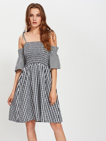 Shirred Gingham Swing Dress