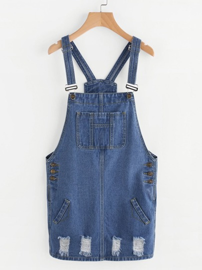 Ripped Dungaree Dress With Pocket