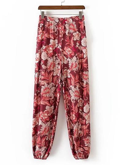 Pantalons taille élastique imprimé fleuri